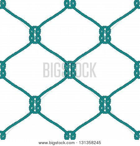 Seamless nautical rope knot pattern. Endless  illustration with green fishing net ornament and marine knots on white backdrop. Trendy maritime style background. For fabric, wallpaper, wrapping.
