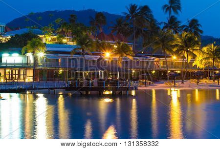 The caribbean beach at night Martinique island French West Indies.