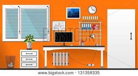 Flat Vector Interior Office Room In Orange And White Style. Vector Illustration