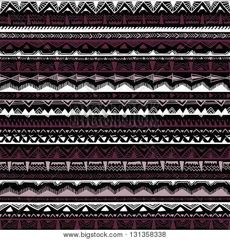 Seamless Ethnic Pattern. Horizontal Stripes. Black, White And Purple Colors. Vector Illustration.