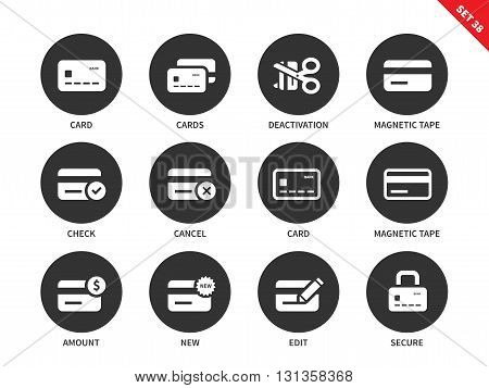 Credit card vector icons set. Business and finance concept. Commerce and consumerism items, credit cards, magnetic tape, check, cancel, amount and secure. Isolated on white background