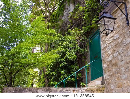 The facade of old French home covered with ivy with green door and ancient lamp in Paris.