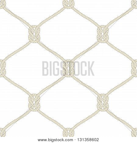 Seamless nautical rope knot pattern. Endless illustration with beige fishing net ornament and marine knots on white backdrop. Trendy maritime style background. For fabric, wallpaper, wrapping.