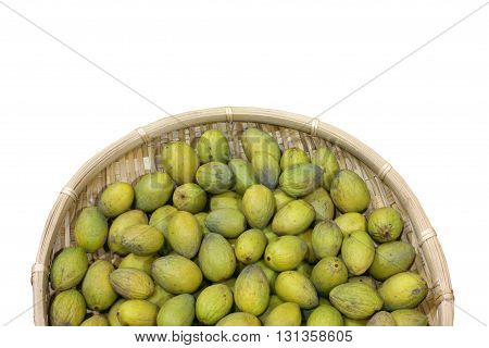 a group of olives in basket isolated on white background