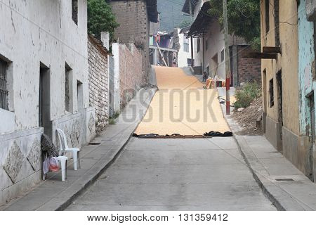 Magdalena Peru - May 18 2016: Small town street filled with dry corn kernels in Magdalena Cajamarca Peru on May 18 2016