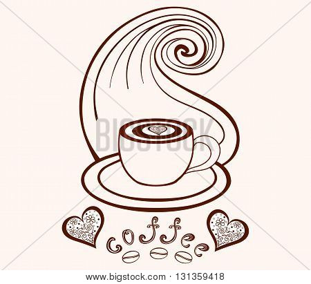 Vector coffee cup with coffee art, coffee beans, hearts and with lines pattern