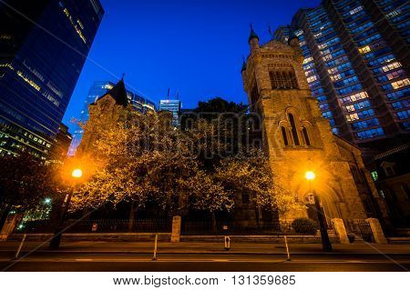 Saint Andrew's Presbyterian Church At Night, In The Financial District, Toronto, Ontario.