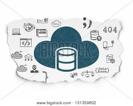 Programming concept: Painted blue Database With Cloud icon on Torn Paper background with  Hand Drawn Programming Icons