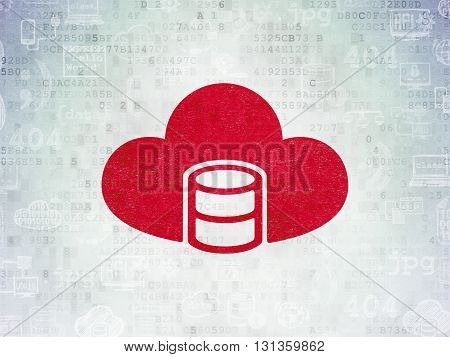 Database concept: Painted red Database With Cloud icon on Digital Data Paper background with  Hand Drawn Programming Icons