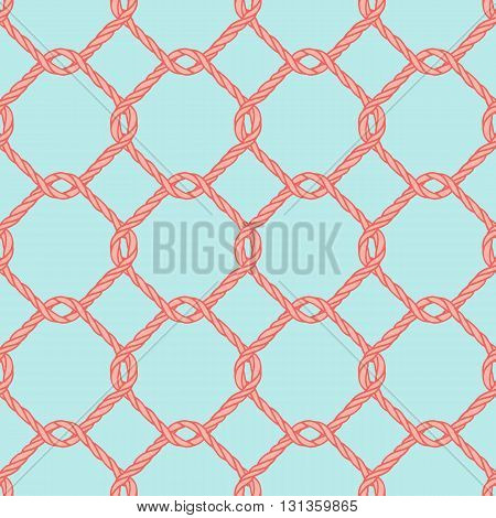 Seamless nautical rope knot pattern. Endless  illustration with red fishing net ornament and twisted cord on blue backdrop. Trendy maritime style background. For fabric, wallpaper, wrapping.