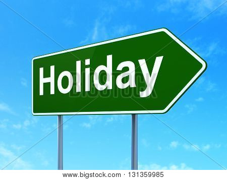 Entertainment, concept: Holiday on green road highway sign, clear blue sky background, 3D rendering
