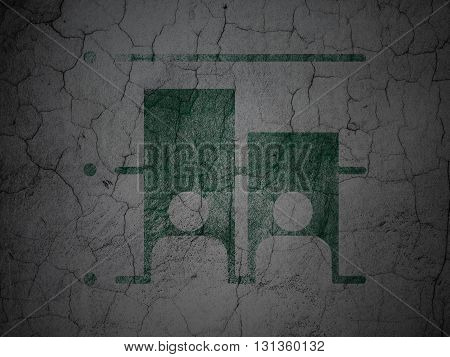 Political concept: Green Election on grunge textured concrete wall background