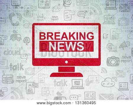 News concept: Painted red Breaking News On Screen icon on Digital Data Paper background with  Hand Drawn News Icons