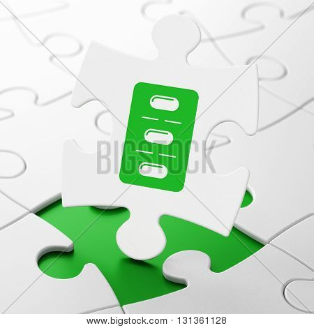 Health concept: Pills Blister on White puzzle pieces background, 3D rendering