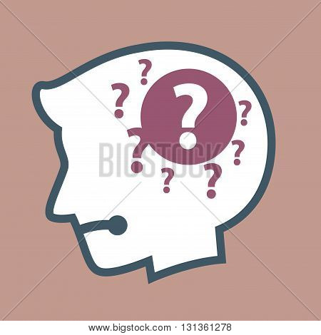 Vector stock of human head silhouette with question mark inside confused
