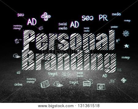 Advertising concept: Glowing text Personal Branding,  Hand Drawn Marketing Icons in grunge dark room with Dirty Floor, black background