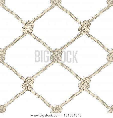 Seamless nautical rope knot pattern. Endless navy illustration with beige fishing net ornament and marine knots on white backdrop. Trendy maritime style background. For fabric, wallpaper, wrapping.