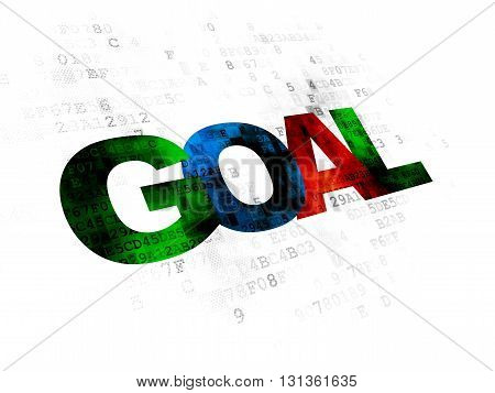 Marketing concept: Pixelated multicolor text Goal on Digital background