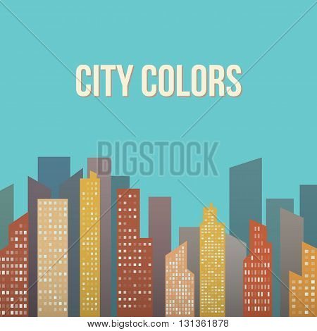 Vector Design - Colorful Building City, Urban Abstract scene illustration.