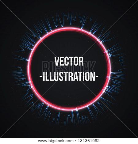 Violet blue shining cosmic ring vector illustration