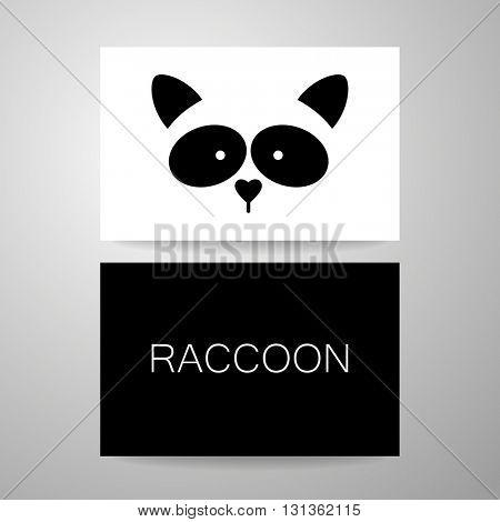 Raccoon logo. Raccoon design card. Raccoon mascot idea for logo, emblem, symbol, icon.