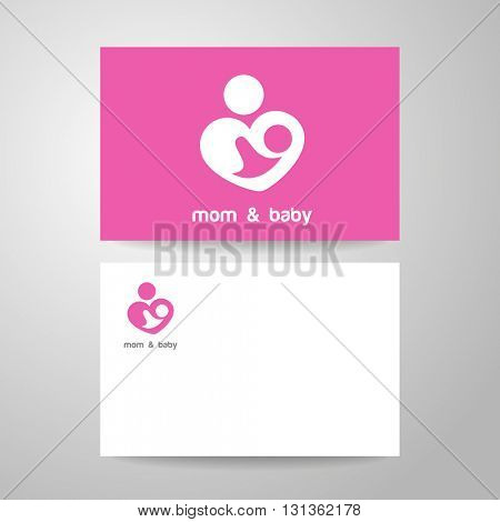 Mom and baby. Mother's care sign. Symbol of parental love. Identity template.