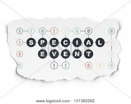 Business concept: Painted black text Special Event on Torn Paper background with Scheme Of Binary Code