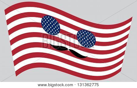 Patriotic USA icon in style of American flag waving with mustaches