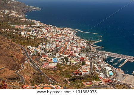 Bird eye view of Santa Cruz, La Palma, Canary Islands, Spain