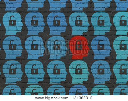 Finance concept: rows of Painted blue head with padlock icons around red head with padlock icon on Black Brick wall background