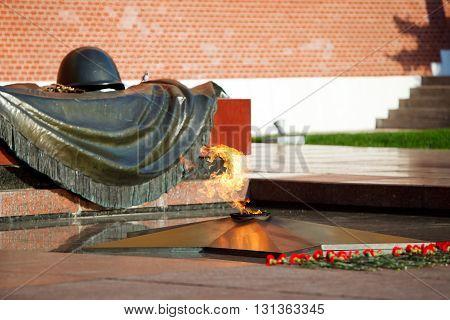 Eternal flame in Alexander's garden in Moscow Russia