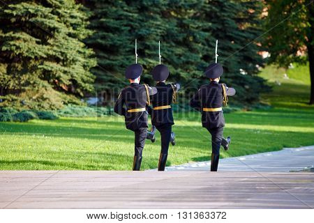 Changing guard soldiers in Alexander's garden near eternal flame in Moscow Russia