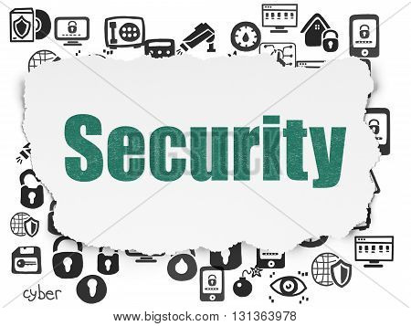 Security concept: Painted green text Security on Torn Paper background with  Hand Drawn Security Icons