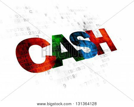 Currency concept: Pixelated multicolor text Cash on Digital background