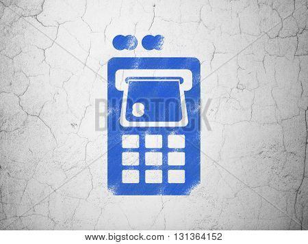 Banking concept: Blue ATM Machine on textured concrete wall background