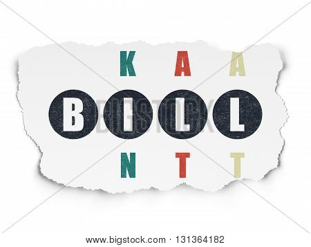 Money concept: Painted black word Bill in solving Crossword Puzzle on Torn Paper background