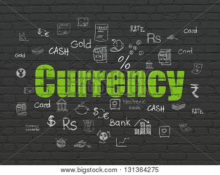 Banking concept: Painted green text Currency on Black Brick wall background with  Hand Drawn Finance Icons