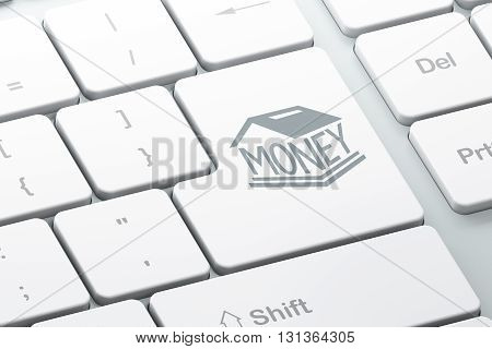 Money concept: Enter button with Money Box on computer keyboard background, 3D rendering