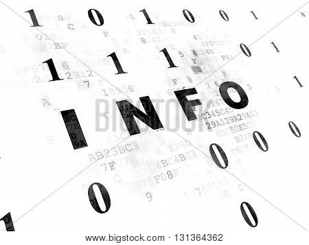 Information concept: Pixelated black text Info on Digital wall background with Binary Code
