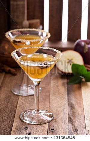 Apple cider martini with spices and star anise