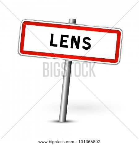 Lens France - city road sign - signage board