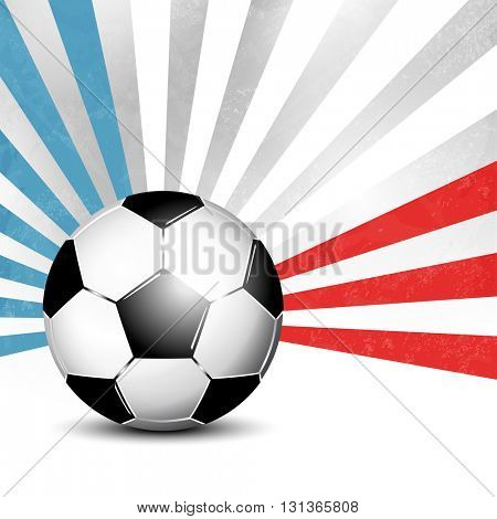 Soccer ball background with rays in abstract French flag colors