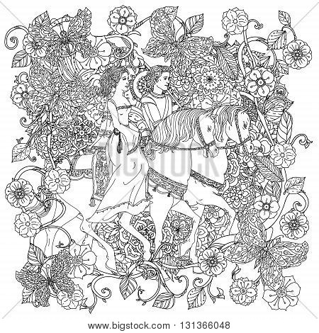 Uncoloured prince, princess and butterfly for adult coloring book in famous zenart art-therapy antistress style.