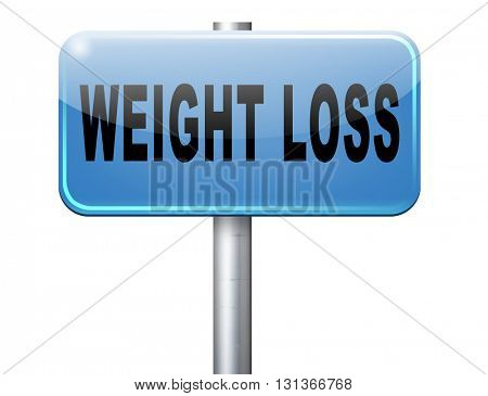 weight loss lose extra pounds by sport or dieting losing kilos road sign billboard