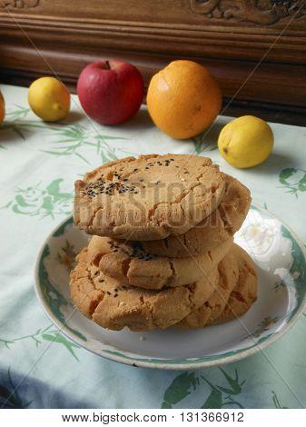 Cantonese tranditional dessert pastry walnut pies snack.