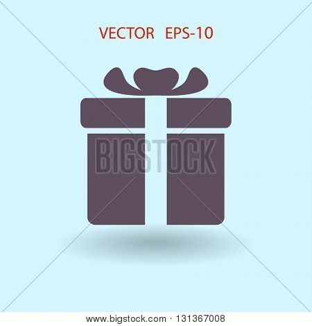 Flat long shadow Gift box icon, vector illustration