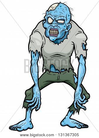Vector illustration of Cartoon Zombie character design