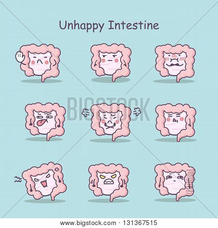 Unhappy cartoon intestine set great for your design