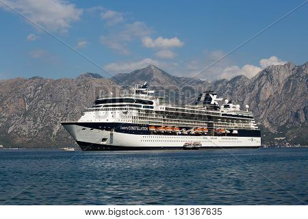 KOTOR MONTENEGRO - SEPTEMBER 23 2015 : Large cruise ship Celebrity Constellation in Boka Kotorsky Bay. Kotor has one of the best preserved medieval old towns in the Adriatic