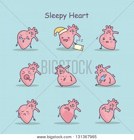 Sleepy cartoon heart set great for your design